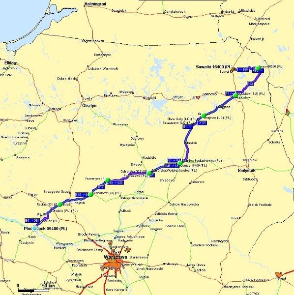 PŁOCK > SUWAŁKI - ILOŚĆ km – 385 (696)