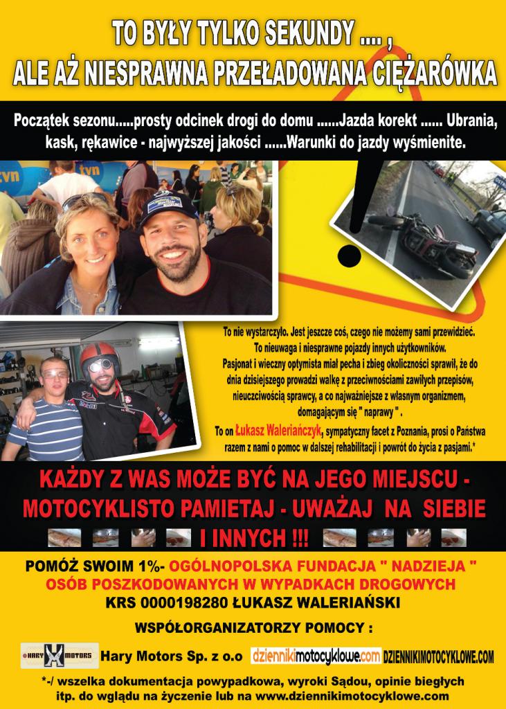 """plakat akcji """"Pomoc dla Łukasza Waleriańczyka"""""""
